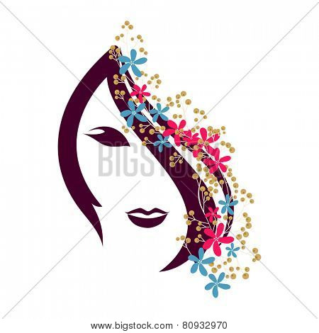 Beautiful young girl face with flowers decorated hairs on white background for International Women's Day celebration.