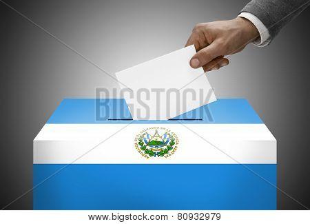 Ballot Box Painted Into National Flag Colors - El Salvador