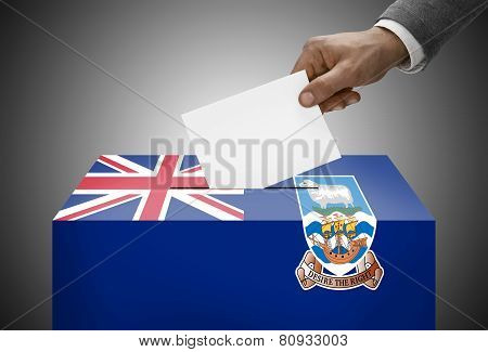 Ballot Box Painted Into National Flag Colors - Falkland Islands