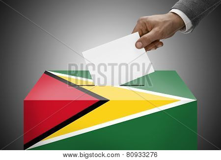 Ballot Box Painted Into National Flag Colors - Guyana