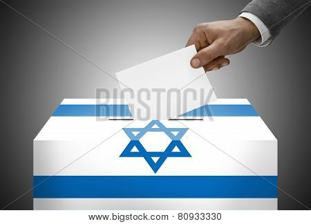 Ballot Box Painted Into National Flag Colors - Israel