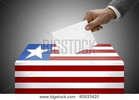 Ballot Box Painted Into National Flag Colors - Liberia