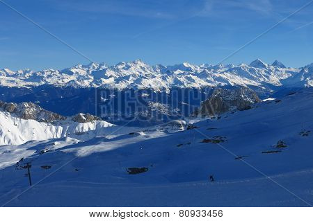 Distant View Of The Matterhorn, Weisshorn And Other High Mountains