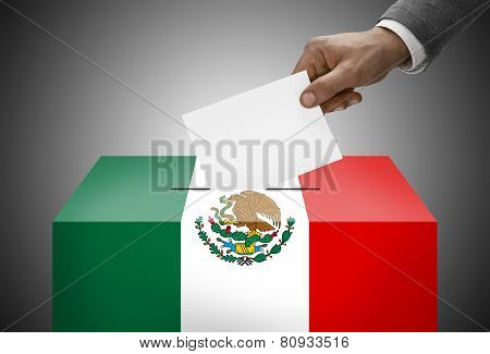 Ballot Box Painted Into National Flag Colors - Mexico