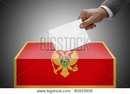 Ballot Box Painted Into National Flag Colors - Montenegro