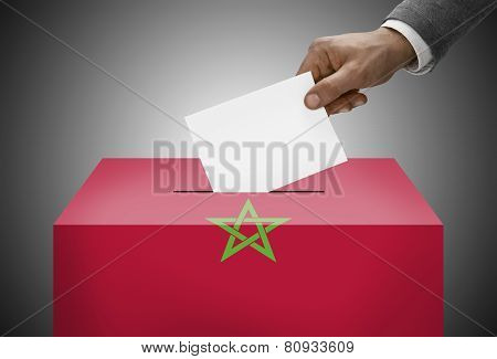 Ballot Box Painted Into National Flag Colors - Morocco