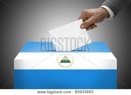 Ballot Box Painted Into National Flag Colors - Nicaragua