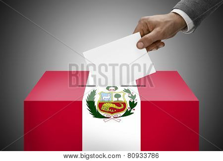 Ballot Box Painted Into National Flag Colors - Peru