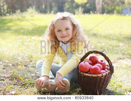 Happy Child And Autumn Basket With Apples Sitting Outdoors In Sunny Day
