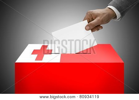 Ballot Box Painted Into National Flag Colors - Tonga