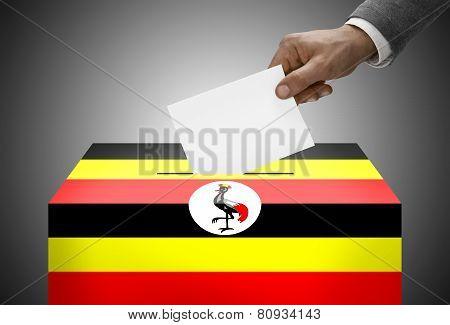Ballot Box Painted Into National Flag Colors - Uganda