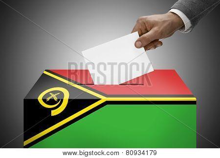 Ballot Box Painted Into National Flag Colors - Vanuatu