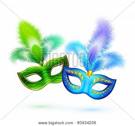 Pair of green and blue vector masks isolated on white