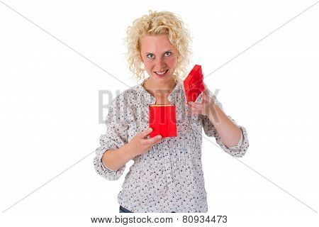 Young Woman Looking Into A Gift Box