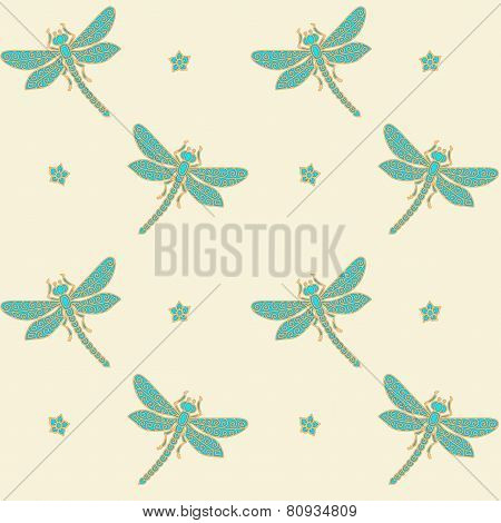 Dragonflies seamless background
