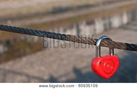 Red Padlock In The Shape Of Heart