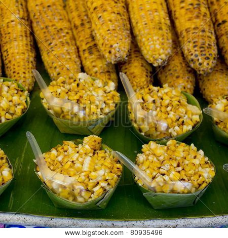 Organic Grilled Corn On The Grille With Flames Ready To Sale And Eat.