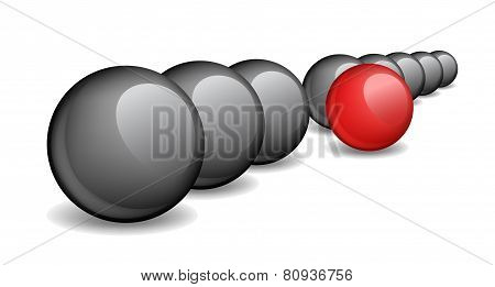 Black balls with one red ball standing ahead the rest