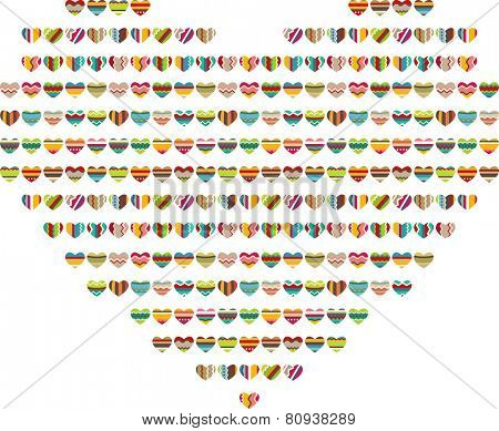 Stylized heart background made of hearts isolated on white