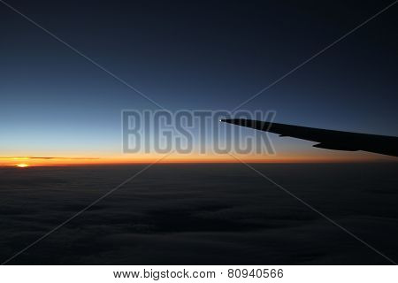 Plane Clouds Sunset Wing Aircraft