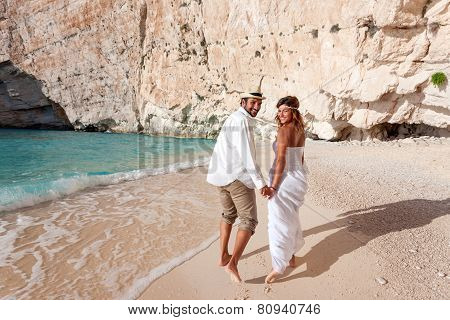 Beautiful Young Couple At The Beach