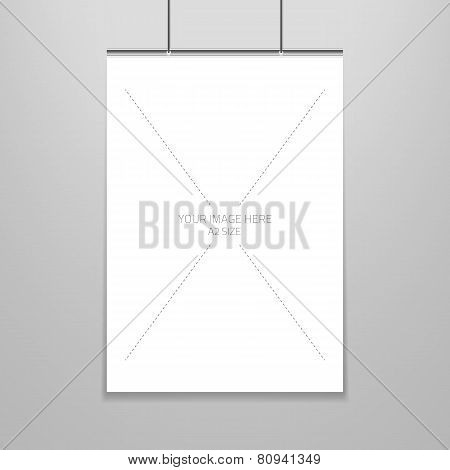 Vector poster template of a blank paper sheet in frame, placed on the wall.