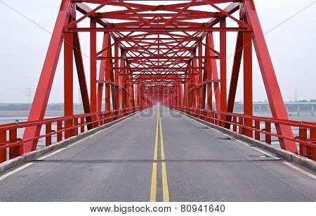 The old structure of red bridge closeup