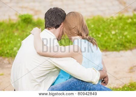 Caucasian Couple Having Rest Outdoors