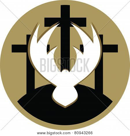 Three Crosses In Circle Gold