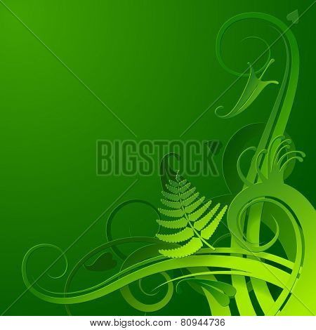 Green cut paper herbal background. Vector Illustration