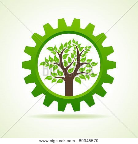 Tree inside the gear- vector illustration