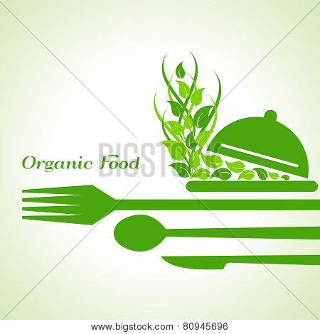 organic food label design concept with restaurant forks stock vector