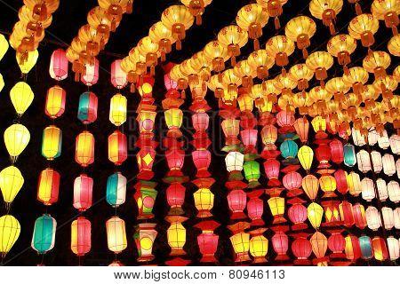 lanna lamp style in loykratong festival , chiangmai thailand