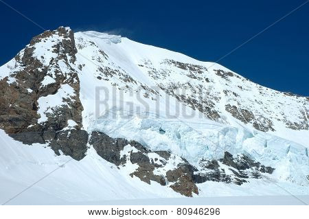Snow On Monch Mountainside At Jungfraujoch In Switzerland