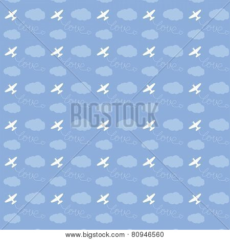 Airplane flying in the sky, love, seamless pattern
