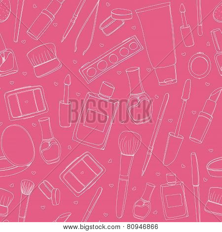 Makeup background with cosmetic tubes