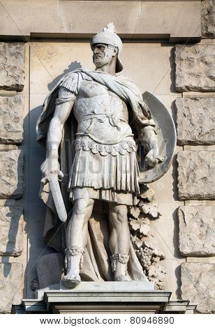 VIENNA, AUSTRIA - OCTOBER 10: Wilhelm Seib: Roman soldier, on the facade of the Neuen Burg on Heldenplatz in Vienna, Austria on October 10, 2014.