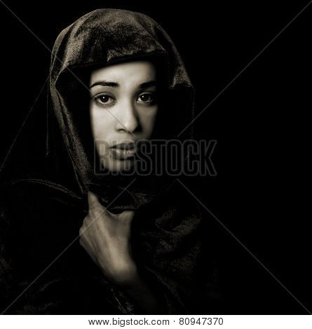 Serene African American Woman Wearing A Shawl In Monochrome