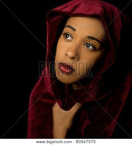 Gorgeous African American Woman Wearing A Burgundy Velvet Shawl