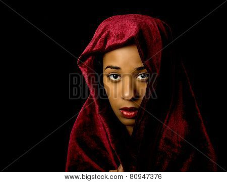 Mesmerizing Beautiful African American Woman Wearing A Red Velvet Shawl