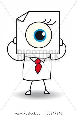 The eye. John Doe holds a sheet of paper on which is drawn an eye. The view is one of the five senses