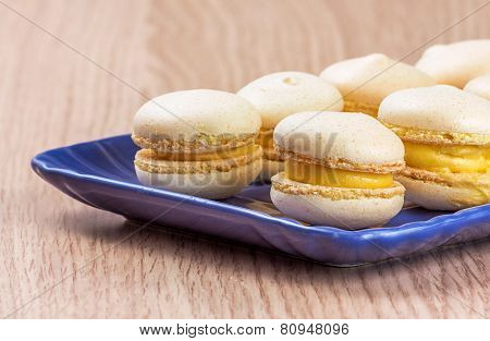 Macarons Close Up On Blue Serving Tray