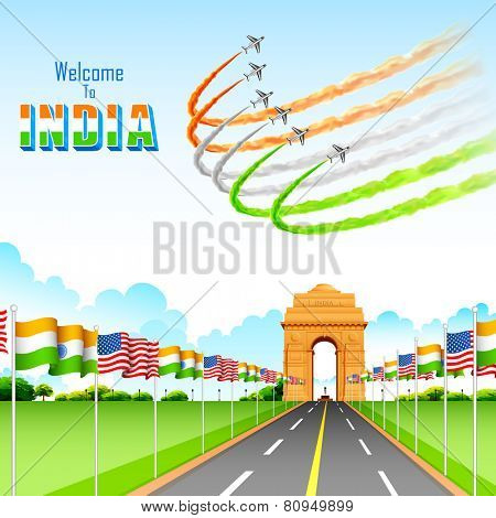 illustration of India-America relationship on India Gate