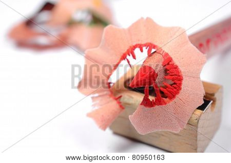 Bright red pencil with knife-sharpener
