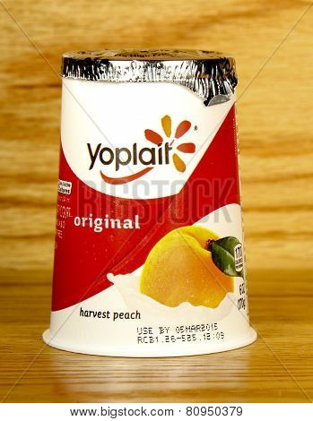 Container Of Yoplait Harvest Peach Yogurt