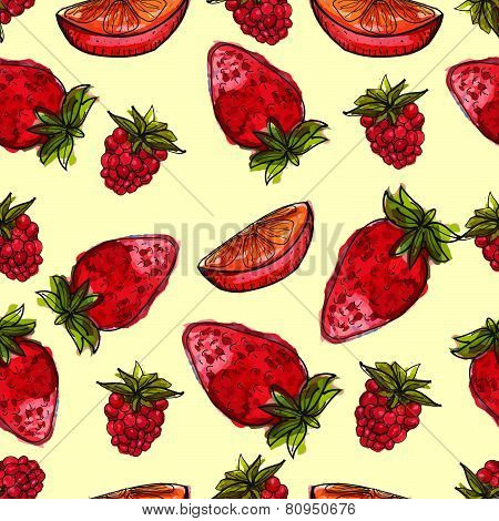 Watercolor background with cherry and raspberry.