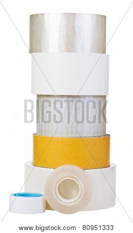 Different Adhesive Tape Rolls Isolated On White