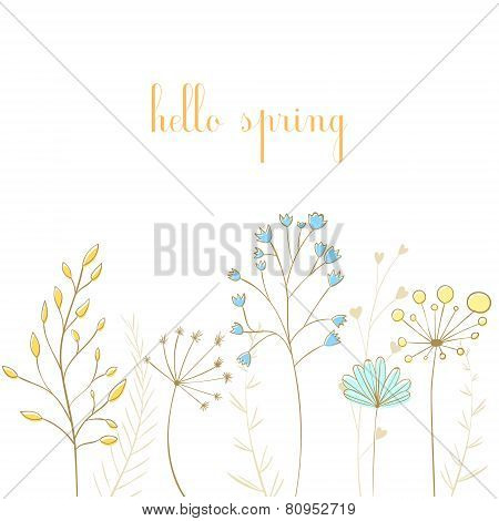 Branches with leaves and text hello spring
