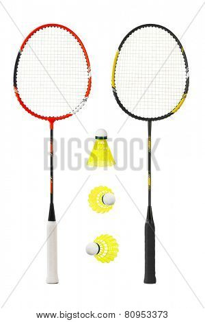 Badminton racket isolated on white background