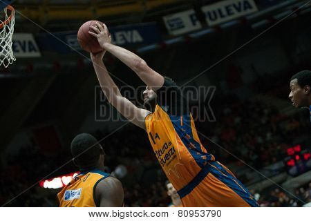 VALENCIA, SPAIN - JANUARY 21: Dubljevic during Eurocup match between Valencia Basket Club and CSU Asesoft at Fonteta Stadium on January 21, 2015 in Valencia, Spain